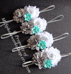 Gray, White & Mint Green Baby Girl Headband - Shabby Chiffon Flower Hair Bow for Babies, Toddlers, Little Girls in White, Gray, Mint Green by MLSPhotoWorksShop on Etsy https://www.etsy.com/listing/157956128/gray-white-mint-green-baby-girl-headband