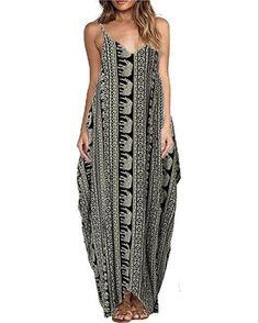 c55504e3d9a Print Floral Loose Boho Bohemian Beach Dress Women Sexy Strap V-Neck Retro  Vintage Long Maxi Dress Summer 2018 Plus Size 3XL