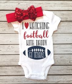 I Love Watching Football With Daddy Colored Customized Bodysuit Girls Football Bodysuits - BellaPiccoli