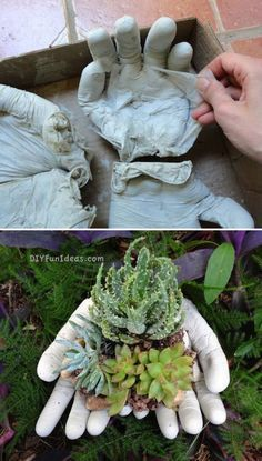 Concrete Hands Planter--would take a while til the cement mix isn't so caustic it kills the plants. Concrete Hands Planter graces sized hand done. Painted pastel and put in fairy garden. How to Make Concrete Hands Planter - DIY & Crafts - Handimania Concr Hand Planters, Garden Planters, Succulents Garden, Concrete Crafts, Concrete Garden, Concrete Planters, Concrete Molds, Diy Garden, Garden Crafts