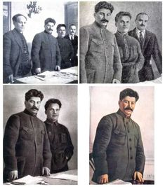 """Stalin era retouched photos.  When people were killed or """"disappeared,"""" Stalin just order the pictures revised--as if the people never existed."""