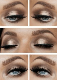 Gorgeous Peach, Copper, Brown Eye Shadow on Blue eyes and much better Brow :)