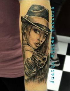 Hot gangsta chick tattoo by Justin Winter at All Star Tattoo Tacoma, Wa