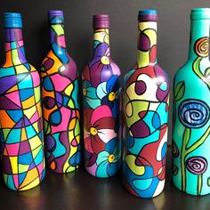 painted wine bottles from Happy HooligansYou can find Bottle art and more on our website.painted wine bottles from Happy Hooligans Painted Glass Bottles, Glass Bottle Crafts, Wine Bottle Art, Diy Bottle, Decorated Bottles, Wine Bottles Decor, Wine Bottle Lanterns, Wine Glass, Empty Wine Bottles