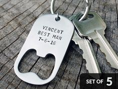 Set of 5 - GROOMSMEN GIFTS Personalized Bottle Opener Keychains