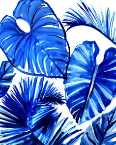 Giant tropical floral shapes and designs in bold colors for your wall. Transform your space into something adventurous and lush. These large leaves are bright blue! - jungle decor, jungle home decor, jungle wall art, tropical leaf art, tropical leaf wall art, tropical home decor