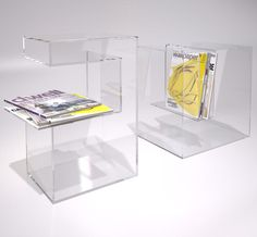 Idea for Custom Acrylic Displays:  Acrylic End Table with Magazine shelf.