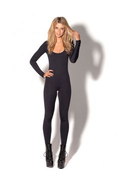 """New Matte Black Long Sleeve Catsuit."" Something I want to wear... when I lose weight of course."