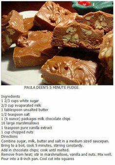 Paula Deen's 5 minute fudge Paula Deen Chocolate Pie Recipe, Paula Dean Fudge Recipe, Chocolate Fudge Recipes, See's Fudge Recipe, Peanut Brittle Recipe, Oreo Fudge, Peanut Butter Fudge, Chocolate Bars, Christmas Sweets
