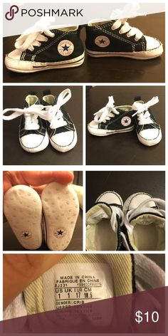 Baby boy converse crib shoe Baby boy Converse crib shoe. Black and white. Mint condition. Only worn a few times. No stains or marks. Converse Shoes Baby & Walker