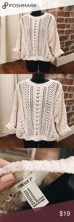 Loose Knit Cable Knit Sweater No damage! Fits true to size, slightly oversized. Super soft, chenille material. Can be worn with an undershirt or with a pretty bralette! Ivory color. Forever 21 Sweaters