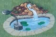 Pressurized filter buried part-way adjacent to the pond.