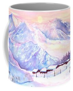 Mountain View Coffee Mug featuring the painting Mountain View Winter Landscape by Sabina Von Arx Beautiful Artwork, Beautiful Images, Beautiful Winter Scenes, Mugs For Sale, Unique Coffee Mugs, Winter Landscape, Mountain View, Painting Techniques, Color Show
