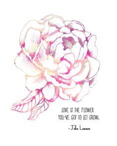 John Lennon Quote, Pink Peony Flower-  8x10 Metallic Print. $20.00, via Etsy.