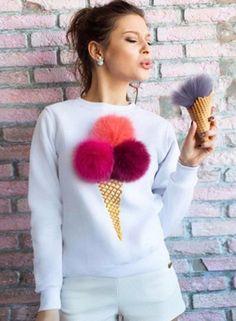 Ice Cream Graphic Pompon Round Neck Sweatshirt