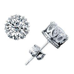 Royal Crown Sterling Silver Swarovski Element Crystal Stud Earrings