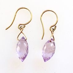 Gorgeous pink quartz marquis beads dangle simple from gold earwires. Hand-made in Los Angeles. Pink Quartz, Lemon Quartz, Beaded Earrings, Drop Earrings, Lilac, Marquis, Dangles, Amethyst, Beads