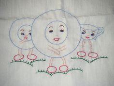 Hand-embroidered tea towel