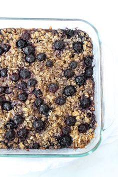 Baked Blueberry Coconut Oatmeal Recipe on twopeasandtheirpod.com. I love having a pan of this oatmeal in the fridge. It's easy to reheat in the mornings!