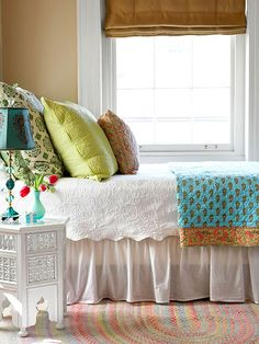 If your neutral bedding is looking a little blah, add in a few colorful shams, pillows, and a throw draped over the end of the bed. A good foundation of neutral bedding means almost anything goes. Coordinate the items you are introducing and your new look is good to go./