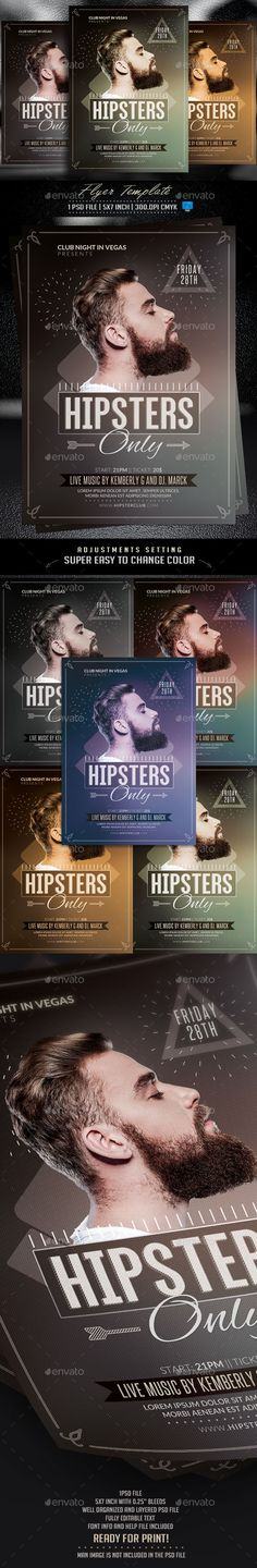 Hipsters Only Flyer Template PSD #design Download: http://graphicriver.net/item/hipsters-only-flyer-template/13013244?ref=ksioks