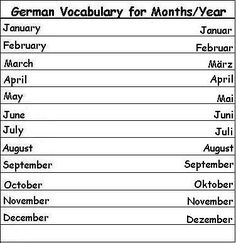 German Vocabulary Words for Months of the Year - Learn German