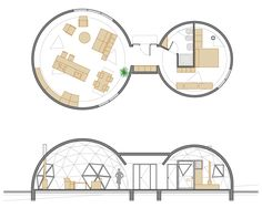 Vivienda geodésica,Floor Plan + Section Circular Buildings, Timber Buildings, Bali Huts, Architecture Drawing Plan, Presentation Board Design, Container Bar, Geodesic Dome Homes, Bamboo Structure, Dome House