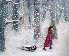 Winter Wonderland - forest, sledge, sleigh, girl, snow, sled, winter, bird, cold