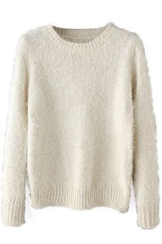 Plain Long Sleeve Round Neck Pullover Sweater