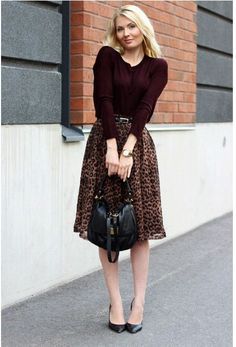 Love this rich burgundy sweater with leopard skirt. I'd wear more comfortable shoes with this, of course. Modest Outfits, Classy Outfits, Pretty Outfits, Fall Outfits, Casual Outfits, Cute Outfits, Work Fashion, Modest Fashion, Fashion Outfits