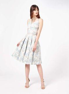 Blue Jacquard Midi Skirt