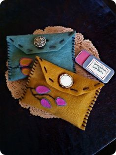 gifts handmade pouch with lip balm and chocolates inside.