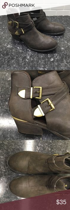 Bethany Mota Ankle Boots ❤️ Adorable ankle boots with zipper in back and gold buckle accents on sides. Very comfortable and in new condition! z#0608 Bethany Mota Shoes Combat & Moto Boots