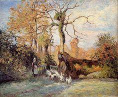 """Camille Pissarro (1830-1903) ~ """"Montfoucault, Givre, La Gardenne d'Oies"""", 1875 (The Goose Girl, White Frost, Montfoucault) ~ Huile sur Toile ~ Musée des Beaux Arts, Houston, TX, USA"""