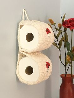 Items similar to Toilet Paper Storage with Flowers, Bathroom Decor, White Knit Crochet Toilet Paper Cozy With Embroidered Roses, Housewarming Gift on Etsy Romantic Bathrooms, Sachet Bags, Toilet Paper Storage, Embroidered Roses, Alcohol Ink Painting, House Warming, Etsy Seller, Balloons, Handmade Gifts