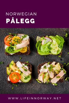 The norwegian word pålegg refers to all sandwich toppings including cold cuts, sliced cheese, spreads and salads.