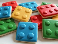 Simple Lego Decorated Cookies - my big brother would love these in his stocking! He used to be a LEGO fanatic!