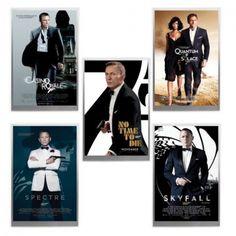 James Bond Movie Poster silver foil Collection