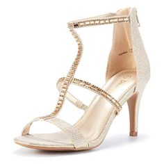 d70a2615e51 DREAM PAIRS Women s Vienna Gold Glitter Fashion Stilettos Open Toe Pump  Heeled Sandals Size 7.5 B(M) US