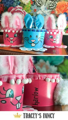 Not only are these bunny buckets SO cute…they are EASY….and make great last minute gifts! - By Tracey's Fancy Easter Bunny Bunny, Easter Bunny, Decor Crafts, Diy Crafts, Whimsical Painted Furniture, Easter Buckets, Jack Rabbit, Dixie Belle Paint, Diy Easter Decorations