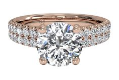 Double French-Set Band Engagement Ring - in Rose Gold (0.59 CTW)