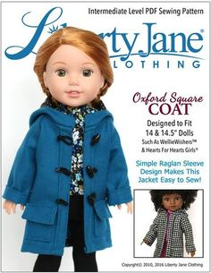 Liberty Jane Oxford Square Coat Doll Clothes Pattern For 14-14.5 Inch Dolls   Pixie Faire