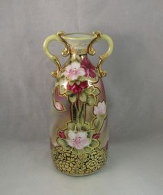 Antique Nippon Two Handle vase Azalea flowers gold gilding Mark green maple leaf