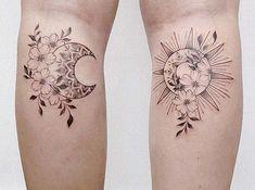 63 Most Beautiful Sun and Moon Tattoo Ideas | Page 6 of 6 | StayGlam Tattoo Bein, Bff Tattoos, Couple Tattoos, Body Art Tattoos, Tattoo Arm, Matching Best Friend Tattoos, Matching Sister Tattoos, Tattoo Sonne Mond, Jasmin Tattoo