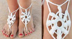 Les bijoux de pieds crème au crochet