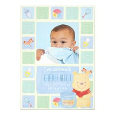 Baby Pooh and Hunny Birth Announcement #baby #shower #invitations #disney #zazzle #birth #announcement #pooh