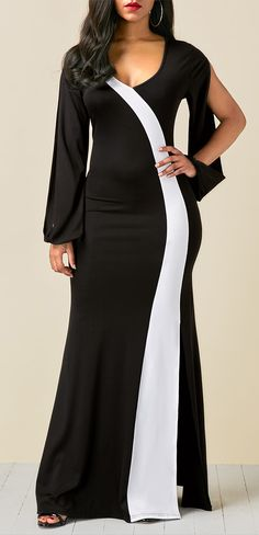Color Block V Neck Side Slit Maxi Dress, elegant dress for women, high quality and better service, check it out.