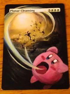 MTG altered art planar cleansing from Magic the Gathering with Kirby