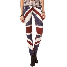 Religion Clothing Jeans Union Jack Skinny In Red,White and Blue. found on Polyvore