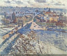 Praha z Letné sold by Dorotheum, Prague, on Saturday, March 2005 Prague Hotels, Cold Mountain, Mountain Climbing, Impressionism, Grand Canyon, City Photo, Praha, River, Fine Art